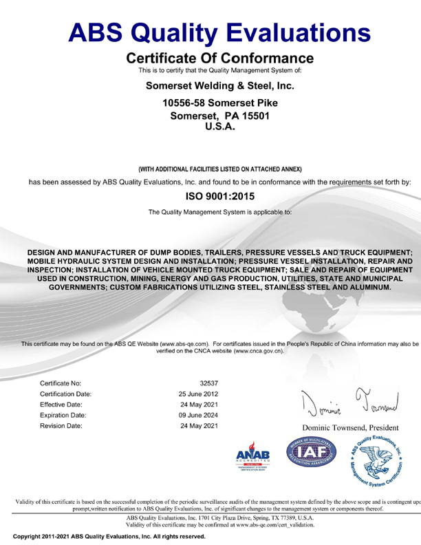 Somerset Welding & Steel: Quality Certifications